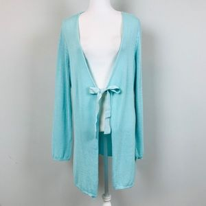 Soft Surroundings blue open front cardigan Large